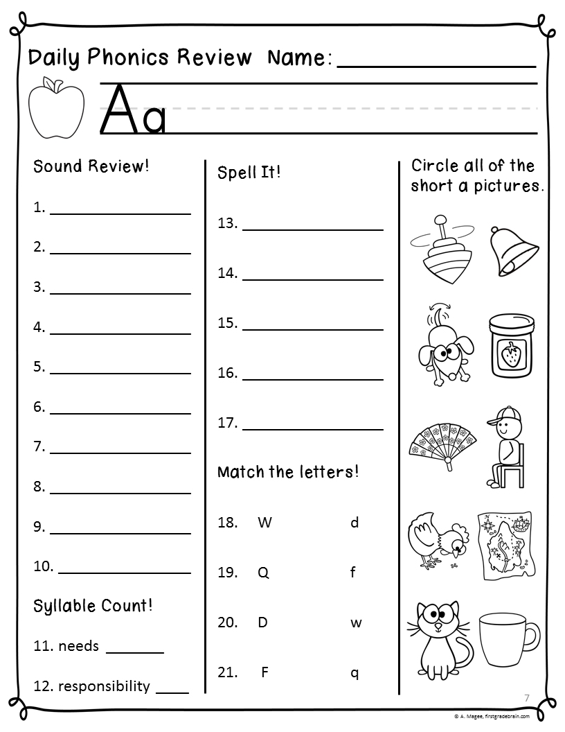 Worksheets Free Printable Phonics Worksheets For 1st Grade phonics worksheets for first grade 1st free printables education