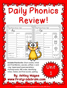 1st grade phonics review worksheets